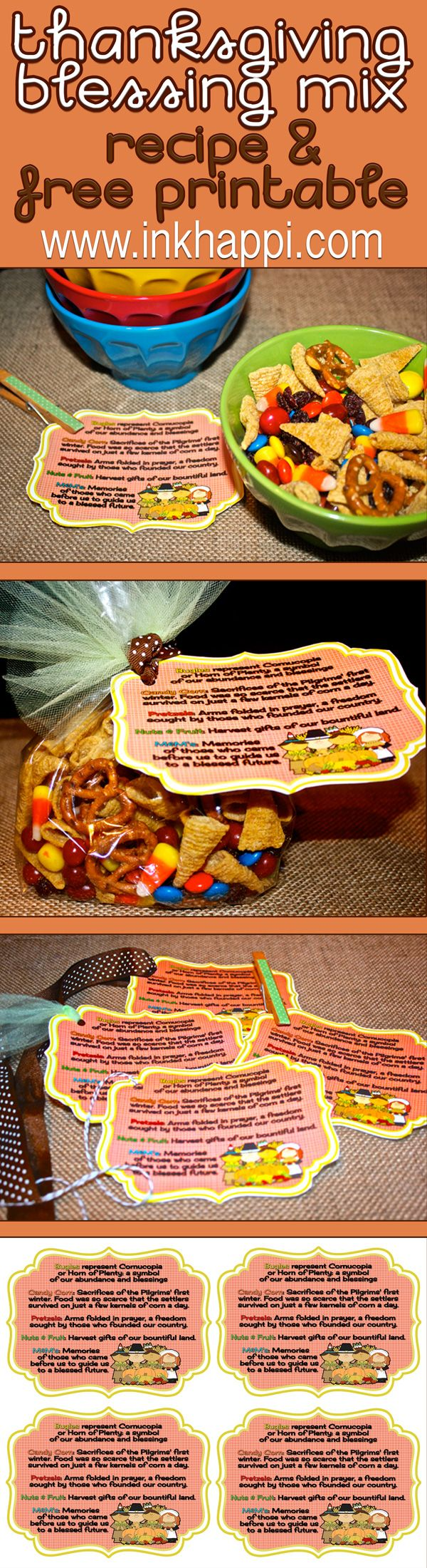 Thanksgiving Blessing Mix. A yummy snack that has meaning. Each item represents part of Thanksgiving. recipe and free printable tags for great gift or display!