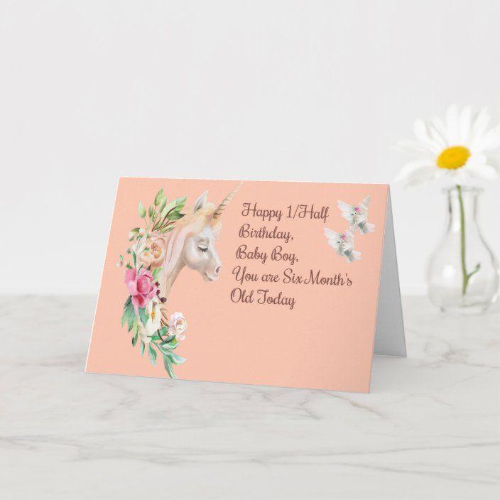 Half Birthday Card For 6 Month Old Baby Boy Zazzle Com Baby Birthday Card Birthday Cards Half Birthday