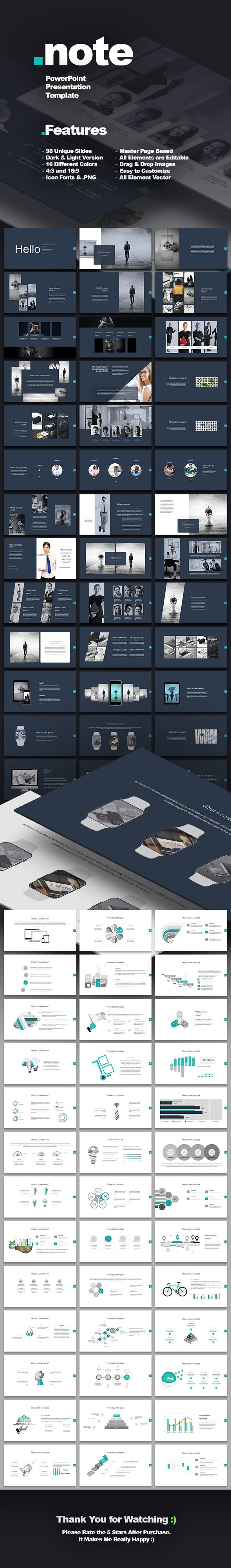 Poster design templates powerpoint - Note Business Powerpoint Template