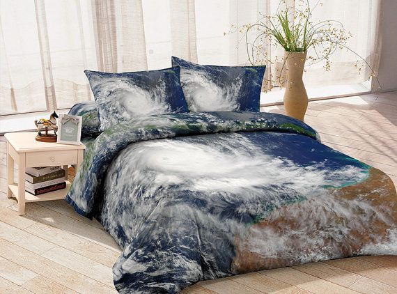 Hurricane Spiral Bedding Set Blue And White Quilt Cover Custom Made Design  Your Own Bedding Soft