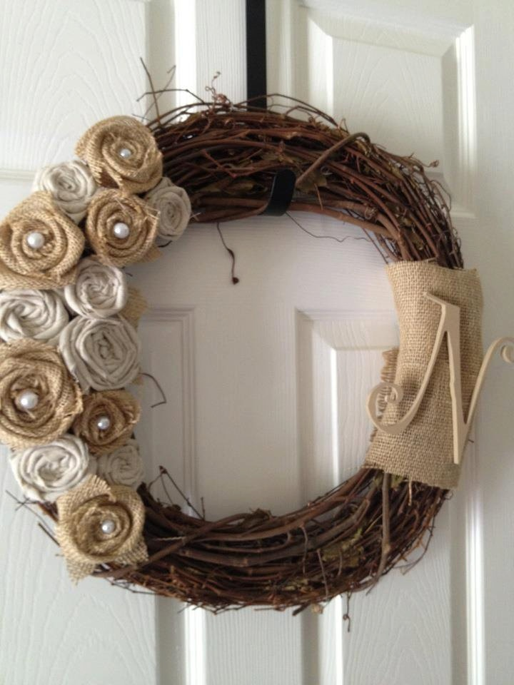 Shabby Chic- Burlap and Linen Rosette Wreath- #buttonsandburlap