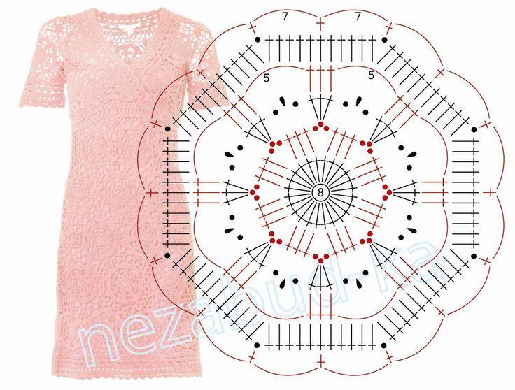 """Octagon 8-sided motif """"Una passeggiata tra i rami dolci di corallo - abito crochet"""". Parlate LiveInternet - russi Servizio diari online"""