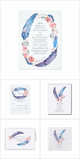 Bohemian Feathers Wedding Invitation Set Collection | Thank You, RSVP | Boho wedding, floral wedding |blues, pinks, purples