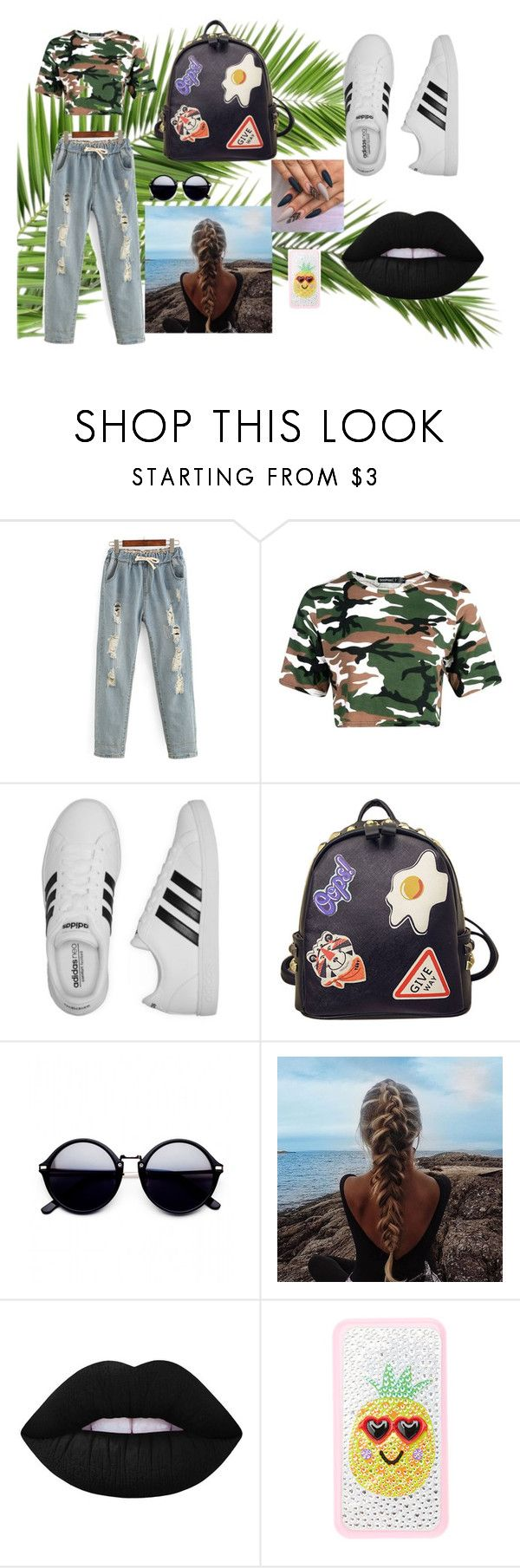 """""""Untitled #11"""" by lineocarol on Polyvore featuring adidas, WithChic and Lime Crime"""