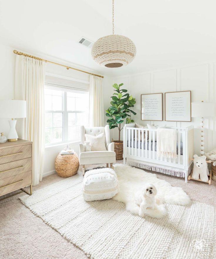 Blush Nursery With Neutral Textures: Boho White Gender Neutral Nursery With Tons Of Texture And