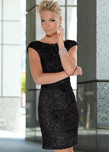 Sequin Dress With Ribbon From Venus Black Sequin Dress