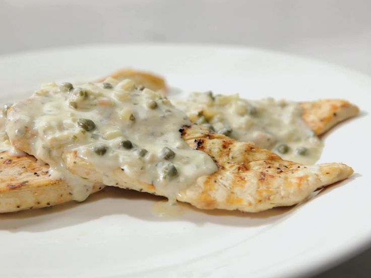 Grilled Chicken with Creamy Caper Sauce from FoodNetwork.com