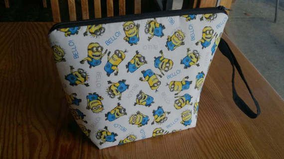 Knitting Project Bag  Minions by thingsbylengleng on Etsy