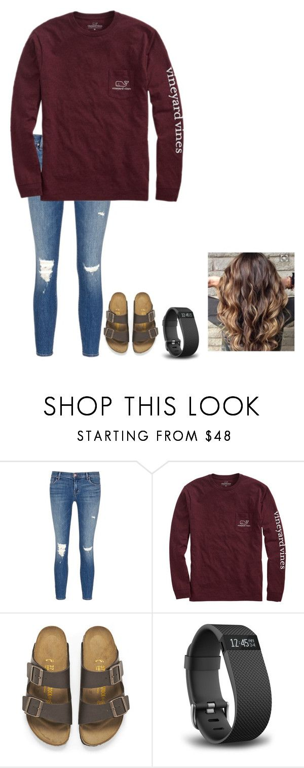 """Tuesday outfit"" by liblu13 ❤ liked on Polyvore featuring J Brand, Vineyard Vines, Birkenstock and Fitbit"