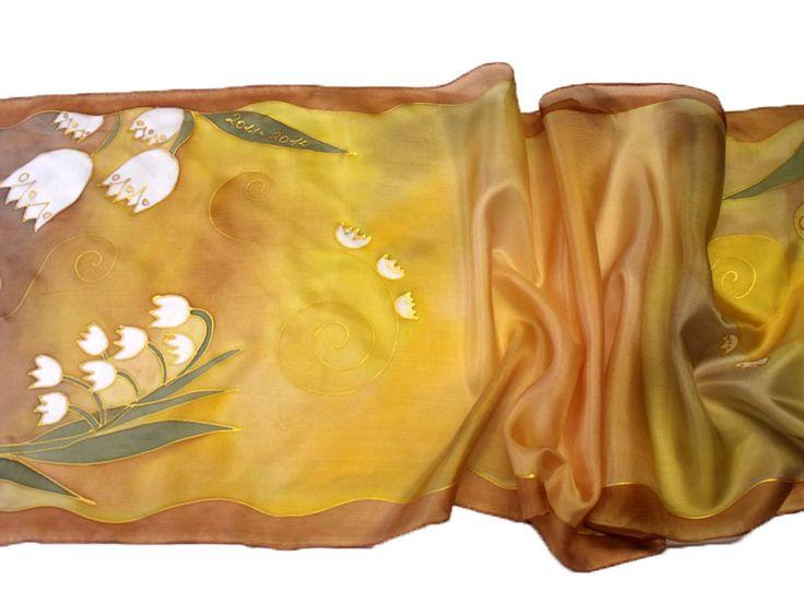 Egyedi, kézzel festett selyem sálak, kendők a ballagó csoport, osztály, iskola nevéből - Gyöngyvirág csoport selyemsála