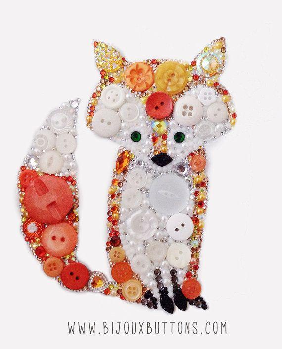 Button Art Fox, Small, Button & Swarovski Crystal, Woodland Animal Decor, Unique…