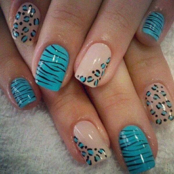 Cheetah in turquoise and taupe - nice! Visit http://bit.ly/nailsuk to learn from the best!