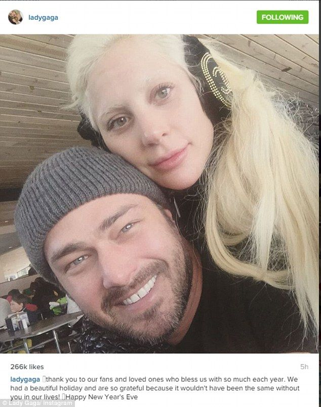 So grateful: Lady Gaga posted a photo of herself and fiance Taylor Kinney while thanking her fans