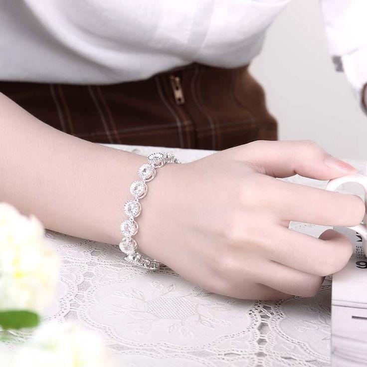 Barato Moda jóias de prata esterlina 925 pulseiras de prata esterlina para mulheres pulseira de prata charme trançado ligação braceletes e pulseiras, Compro Qualidade Pulseiras de corrente diretamente de fornecedores da China: