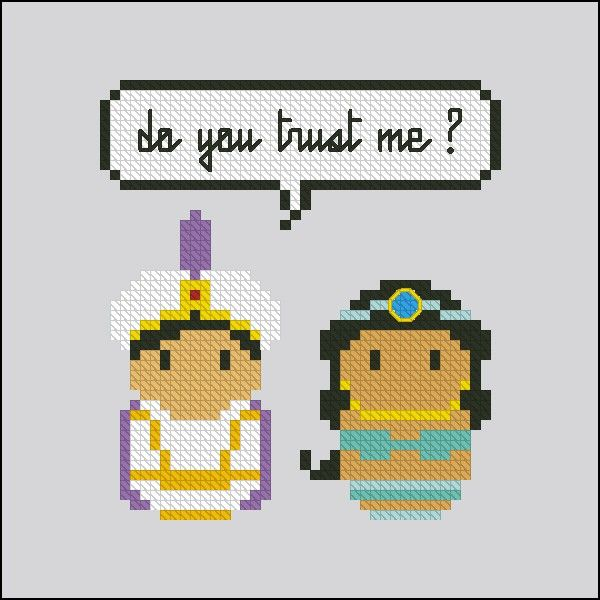 Aladdin and Jasmine - Mini People in Love - Pattern by CloudsFactory