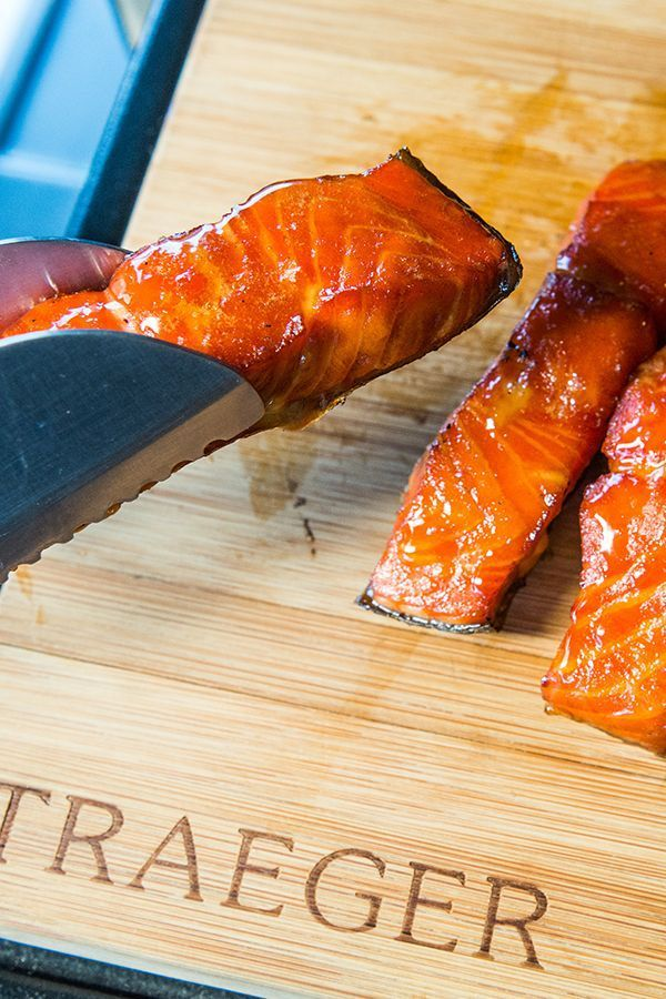 Meat candy ahead: Salmon filet cured with salt and brown sugar, then smoked and mopped with maple syrup.