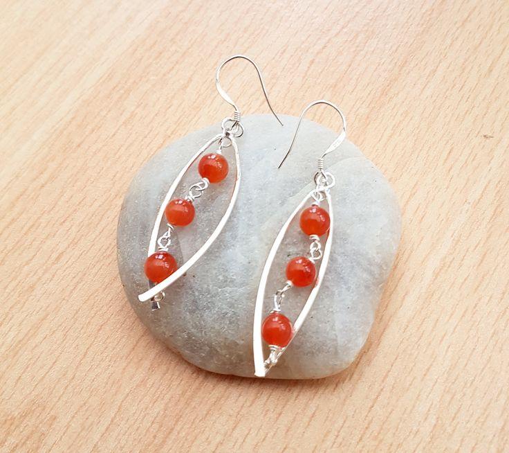 Carnelian fancy earrings, Silver carnelian earrings, Women gemstone earrings, Orange bead earrings, Women jewellery gift, Handmade jewellery by SweetgemsDesign on Etsy