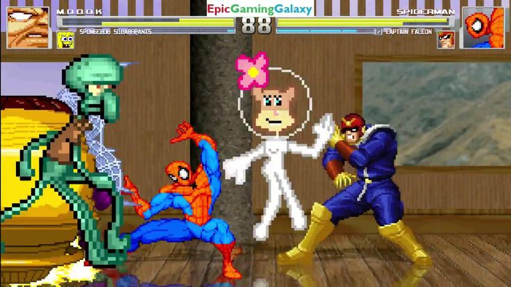 SpongeBob SquarePants And MODOK VS Captain Falcon And Spider-Man In A MUGEN Match / Battle / Fight This video showcases Gameplay of SpongeBob SquarePants And MODOK The Supervillain VS Captain Falcon From The F-Zero Series And Spider-Man The Superhero In A MUGEN Match / Battle / Fight