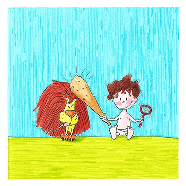"""Hercules's Labours: The Nemean Lion""  1st year birthday greeting card for little Hercules  armoliacrafts"
