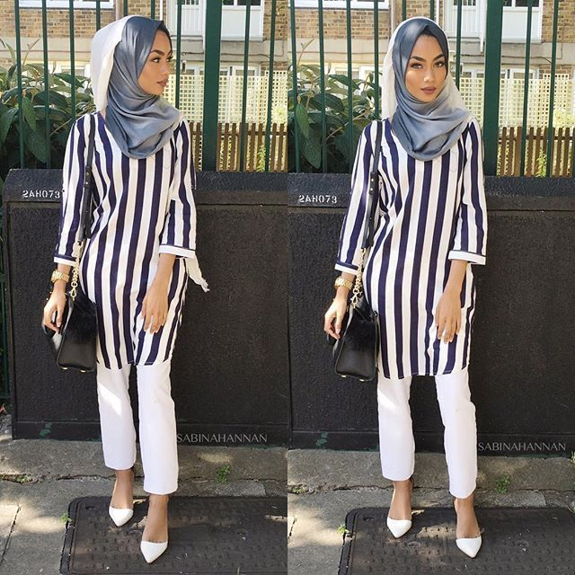 I love wearing stripes in summer   Dress: @hijab_samshine  Trousers: @topshop