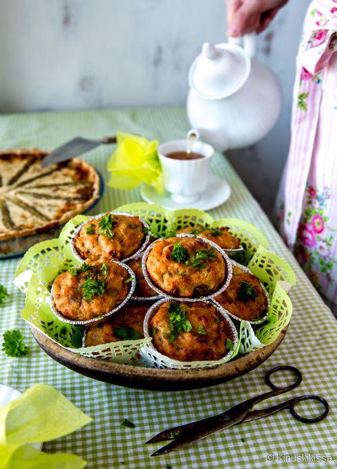 Suolaiset spelttimuffinsit #resepti #leivonta #muffinsit #speltti #lohi #kala
