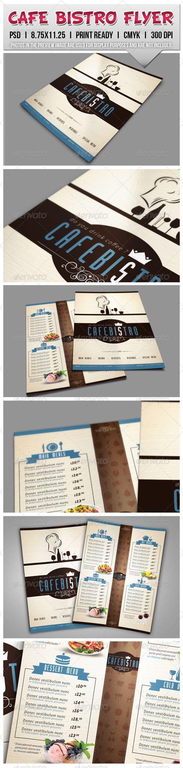 Cafe Bistro Flyer Template #design #speisekarte Download: http://graphicriver.net/item/cafe-bistro-flyer-templates/7770647?ref=ksioks