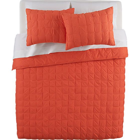 mahalo red-orange bed linens | CB2. Too much orange? Or different enough? #sf