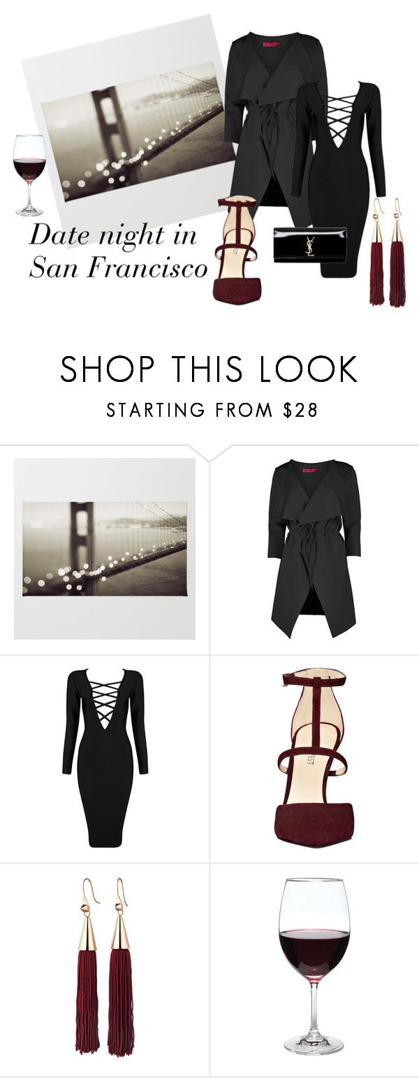 #sanfrancisco#date by slounis on Polyvore featuring moda, Posh Girl, Boohoo, Nine West, Yves Saint Laurent, Eddie Borgo and Oenophilia