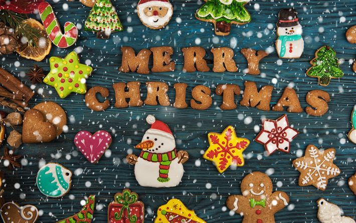 Download wallpapers Merry Christmas, cookies, sweets, pastries, decorations, Christmas, New Year