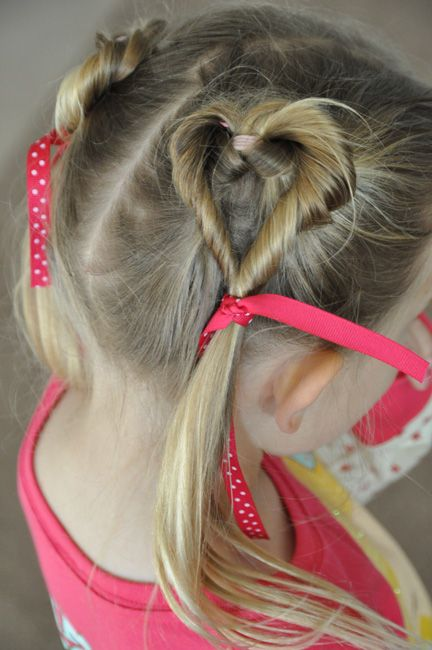 Cute Little Girls Hearts Hair style - twist and tie with ribbon