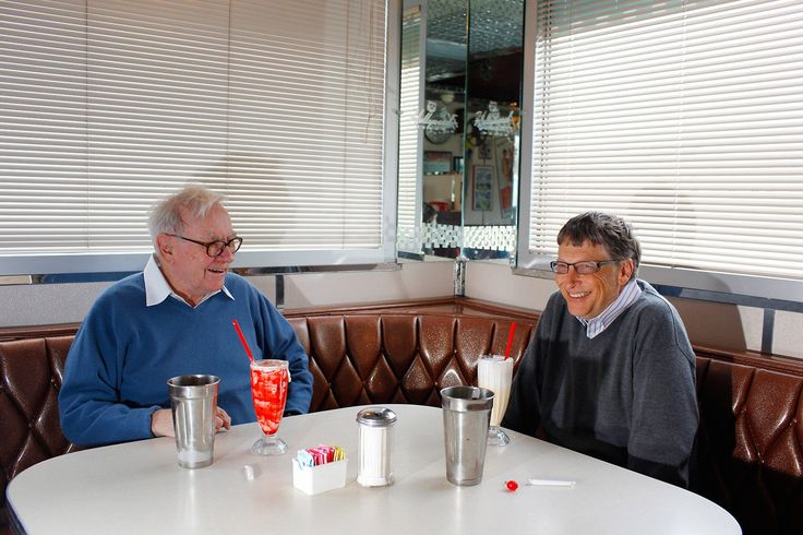Warren Buffett and Bill Gates (combined net worth of more than $150 billion) having milkshakes at a diner