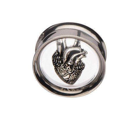 Double Flare Steel Ear Tunnel with Oxidized Silver Heart Inlay