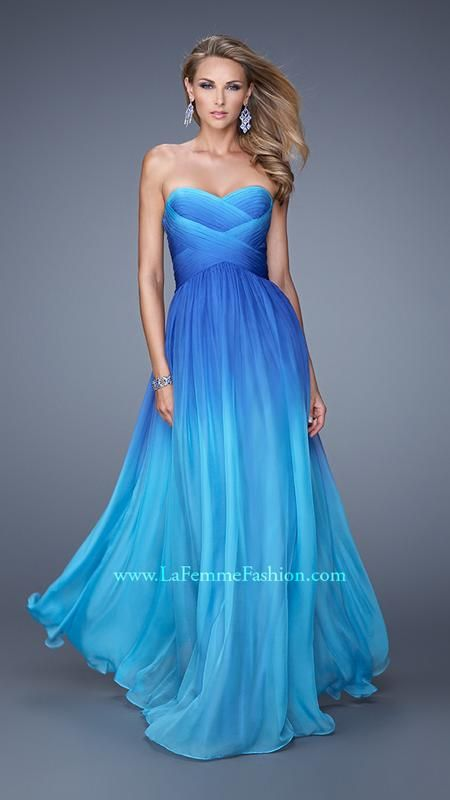 Gorgeous aqua, teal blue and royal blue ombre long formal dress. Would be stunning for a winter wonderland sweet 16 birthday party. La Femme 21515