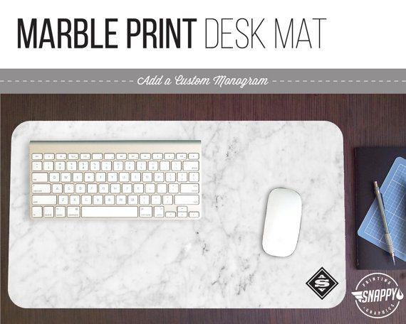 White Marble Pattern Desk Mat w/ Custom Monogram - 2 Sizes - High Quality Digital Print, Dye Sublimation - Hand Washable