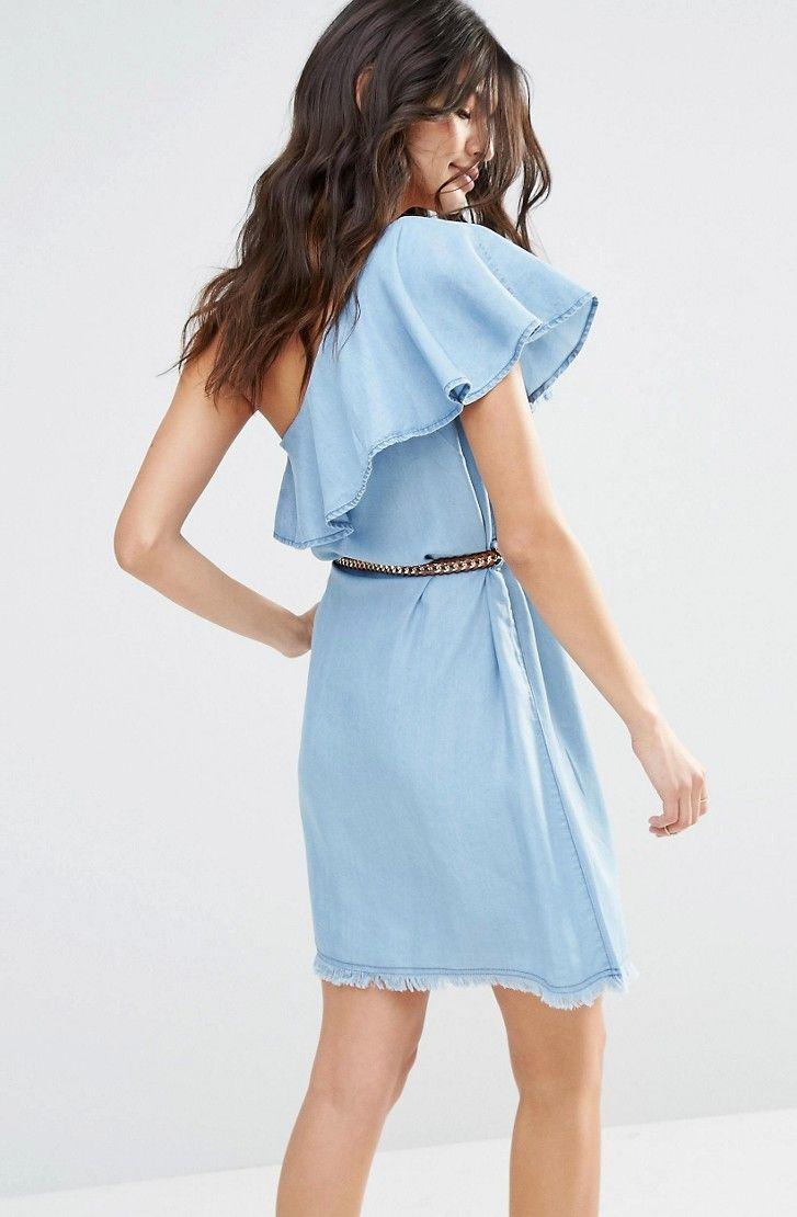 Lehké džínové šaty s odhaleným ramenem HUSH HUSH | Tamsin.cz - Značkové oblečení…