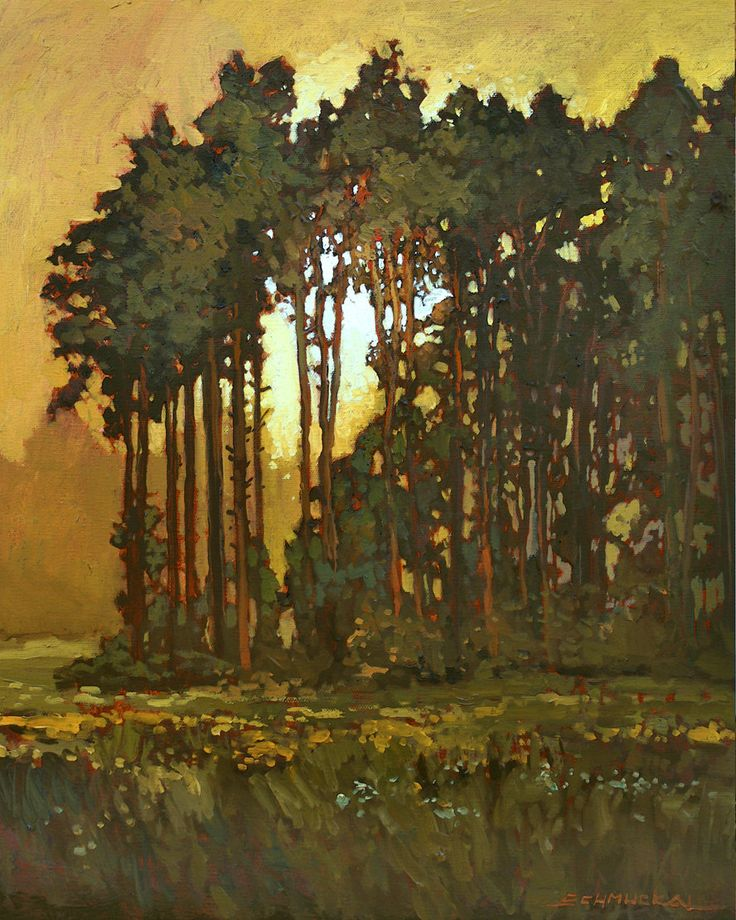 Mission Arts and Crafts CRAFTSMAN Pine Sunset - Giclee Art PRINT of Original Painting matted 11x14 by Jan Schmuckal.