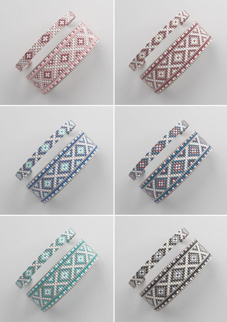 Bead loom sample, LOOM bracelet sample, miyuki sample, sq. sew sample, pdf file, pdf sample, cuff #99BIJU