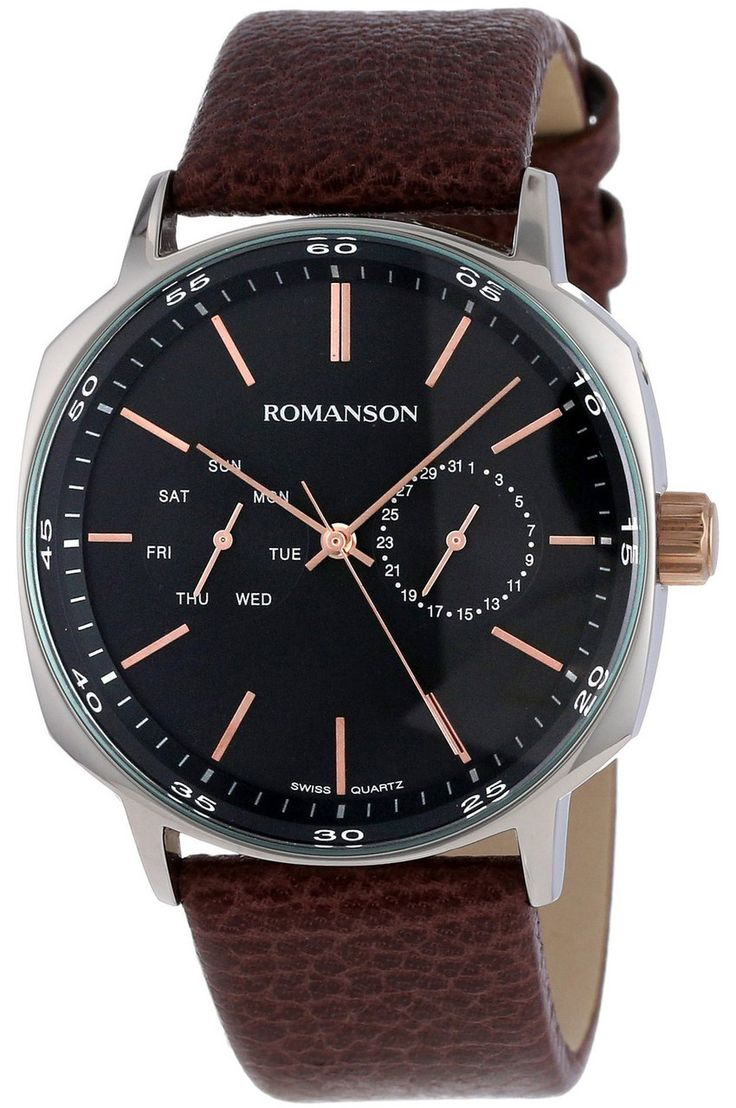 Timepiece Theatre - TL1204BM1JA36R - Romanson Black Swiss Quartz Men's Watch with Chronographed Date and Week Day