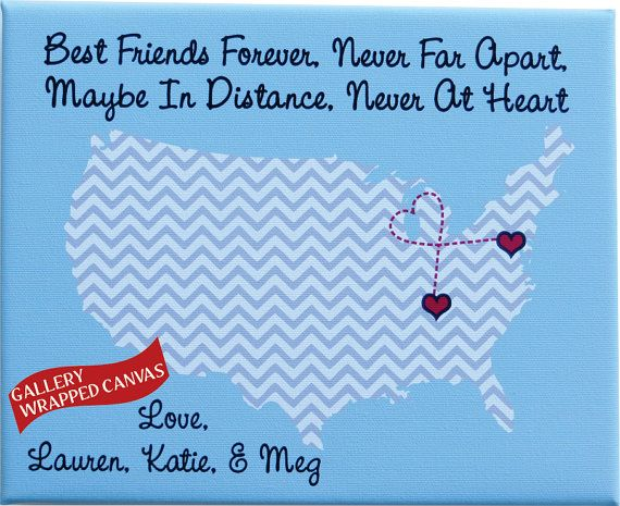 Best Friends Forever Personalized Hometowns Map Art Canvas Gift For Best  Friend: Sister Long Distance