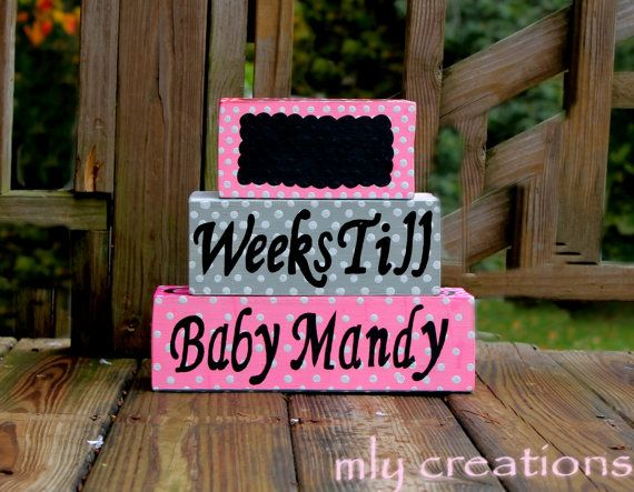 Baby countdown blocks maternity countdown baby by mLyCreations