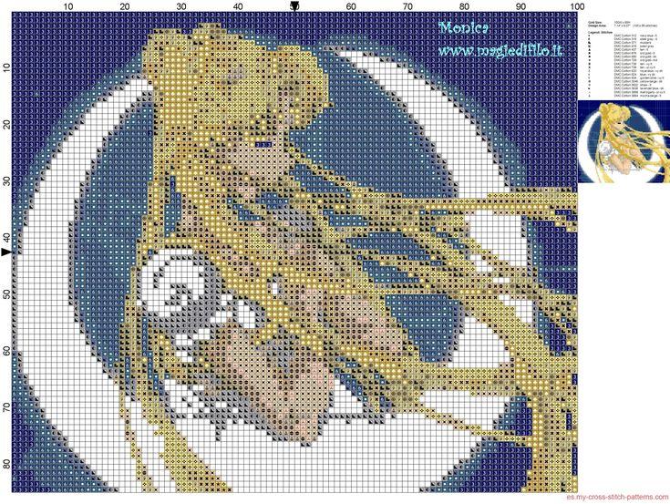 Sailor Moon con la luna patron punto de cruz