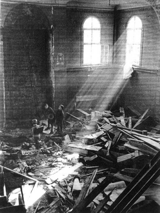 Koenigsbach, Germany, the interior of a ruined synagogue after the kristallnacht, 10/11/1938