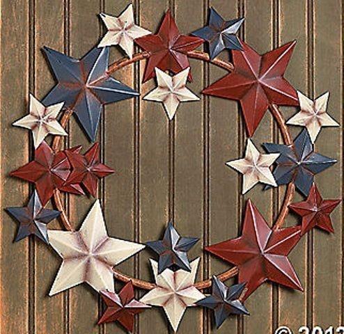 Americana Barn Star Wreath Rustic Large Patriotic Metal Door Decortion New | eBay