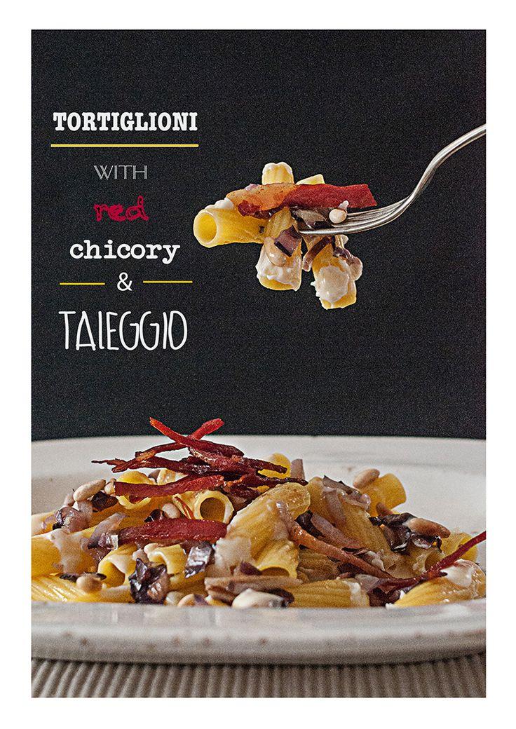 tortiglioni with red chicory and taleggio fondue