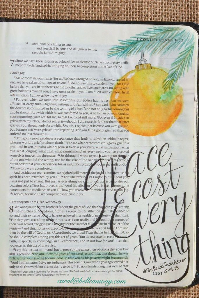 2 Corinthians 8:9, December 14, 2015, carol@belleauway.com, watercolor, bible art journaling, bible journaling, illustrated faith, she reads truth advent