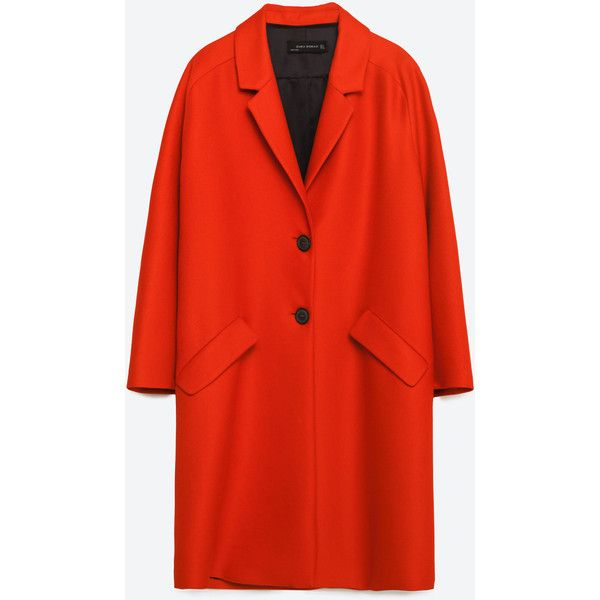 Zara Coat With Flap Pockets ($169) ❤ liked on Polyvore featuring outerwear, coats, red, zara coat and red coat