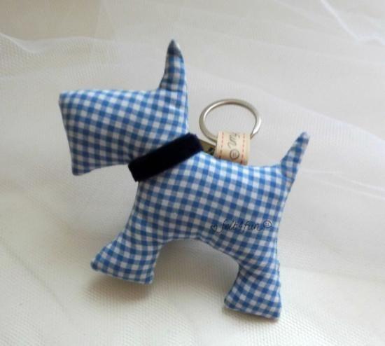 bomboniera portachiavi cane stoffa stoffa nastro cucito