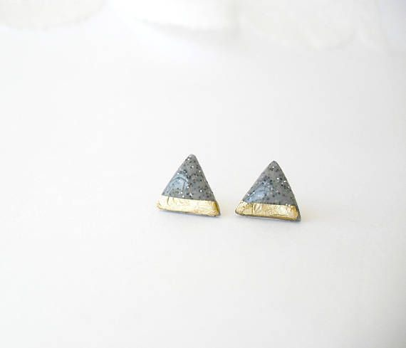 Grey gold triangle studs Concrete and gold glitter posts