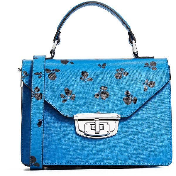 Ganni Top Handle Bag ($480) ❤ liked on Polyvore featuring bags, handbags, marina, leather purses, blue purse, floral leather purse, genuine leather purse and floral handbags