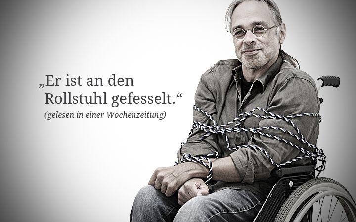 Lieber losbinden. Leidmedien.de setzen sich für klischeefreie Berichtererstattung über Menschen mit Behinderungen ein.